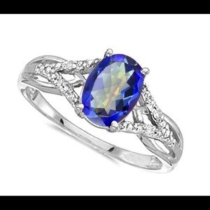 Ocean Blue Mystic Quartz 14k Solid White Gold Ring